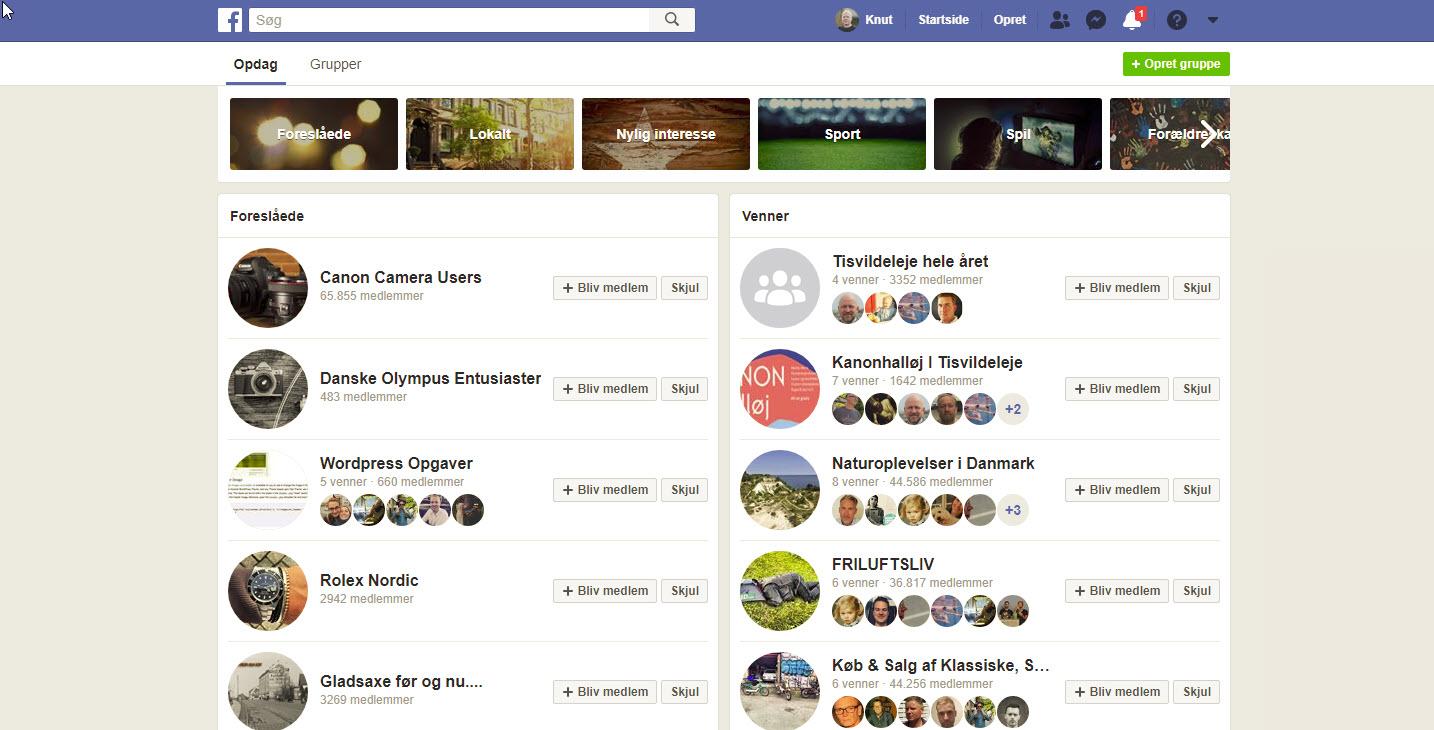 Opdag nye Facebook-grupper