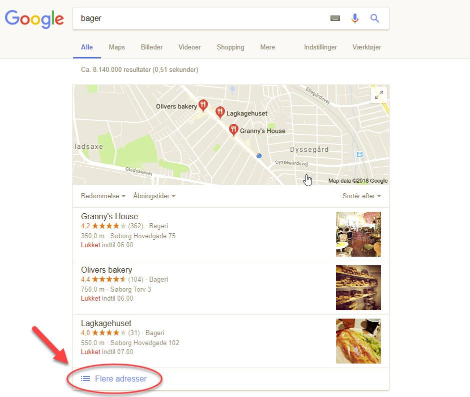 Søg efter fysiske butikker i Google