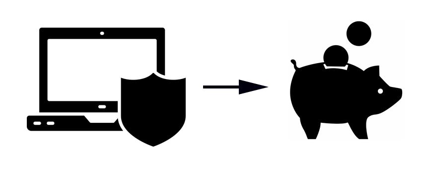 Spar penge på at droppe antivirus - ikon for antivirus og sparegris