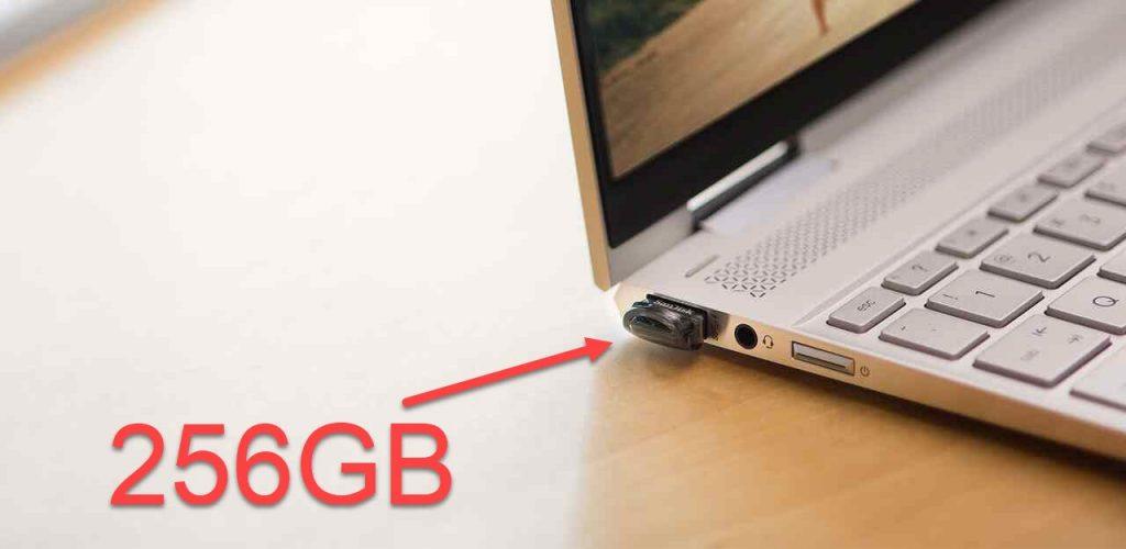 Så lidt fylder SanDisk Ultra Fit USB 3.1 256GB i din computer