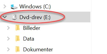 Mapper på USB nøgle ses her i Windows Explorer